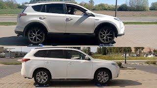 HYBRID 4x4: Toyota Rav4 vs Mitsubishi Outlander PHEV - test on rollers