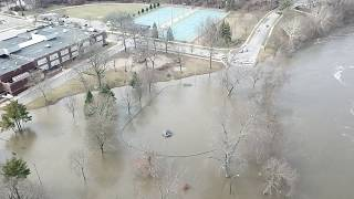 St. Joseph river flood in South Bend Indiana 2/22/18 Dji Mavic HD Aerial footage @ Leeper park