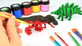 Dinosaur Toys Coloring Set! Jurassic World T Rex, Stegosaurus - Dino Coloring Playtime