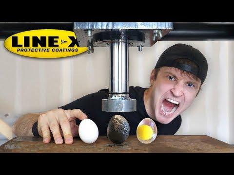 LINE-X EGG vs HYDRAULIC PRESS!! (LINE-X EGG EXPERIMENT) As Seen On TV Test!! thumbnail