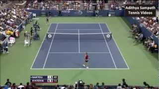Bartoli vs Kvitova 2012 US Open Highlights