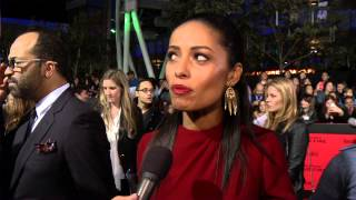 Meta Golding (Enobaria) interviewed at the 'Catching Fire' Premiere in L.A.