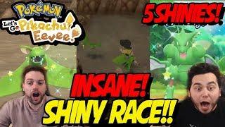 INSANE SHINY RACE! 5 SHINY POKEMON! aDrive vs Deathly in Pokemon Lets Go Pikachu and Eevee!