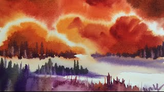 Dramatic Sky Watercolor Demonstration