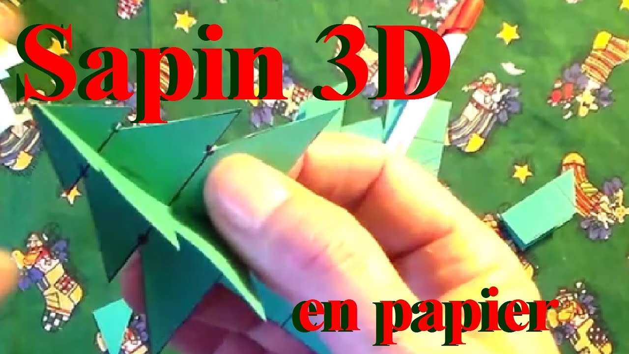 fabriquer un sapin 3d en papier bricolage de no l avec les enfants youtube. Black Bedroom Furniture Sets. Home Design Ideas