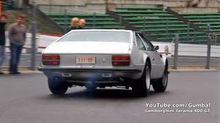 Lamborghini Jarama 400 GT almost crash + loud accelerations!! 1080p HD