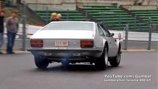 Lamborghini Jarama 400 GT almost crash + loud accelerations!! 1080p HD