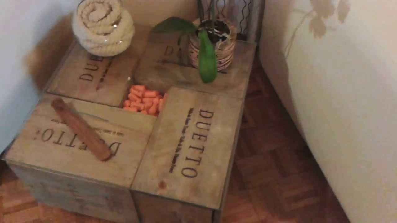 Recycled wine box coffee table diy youtube for Coffee table made out of wine crates