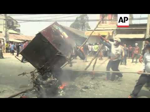 Several casualties as police open fire on striking garment workers.