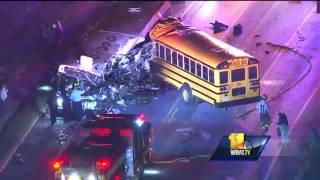 Video: MTA bus, school bus collide in southwest Baltimore