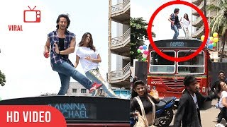Tiger Shroff And Nidhhi Agerwal LIVE Performance On BEST Bus | Ding Dang Song | Munna Michael 2017