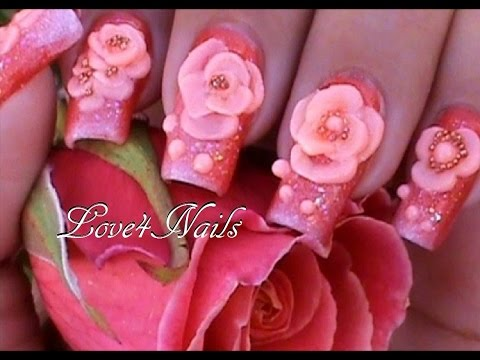 Decoracion Para Uñas ☆ Como Hacer Una Rosa en 3-D