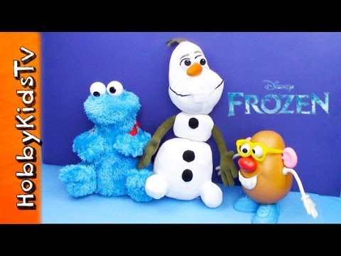 Disney Frozen Olaf Meets Cookie Monster and Mr. Potato Head - Toy Opening, Review, Play