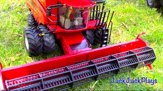 Farm Tractors for Children - Red Ertl Combine Toy UNBOXING with JackJackPlays