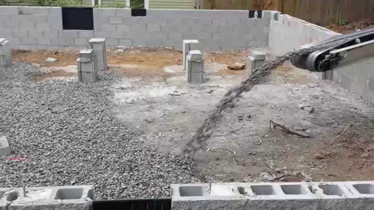 Slinging in 3 4 gravel for crawlspace youtube for Crawl space slab