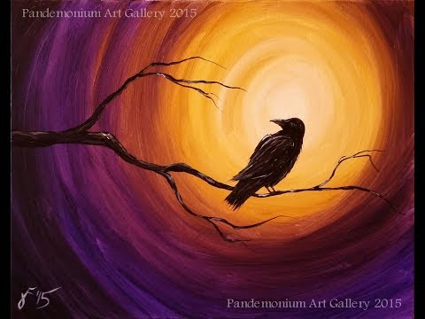 Midnight Raven Acrylic Step by Step Painting on Canvas for B