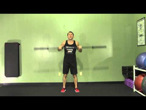 Barbell Clean and Jerk from Hang - HASfit Olympic Exercise - Olympic Lift Form Image 1