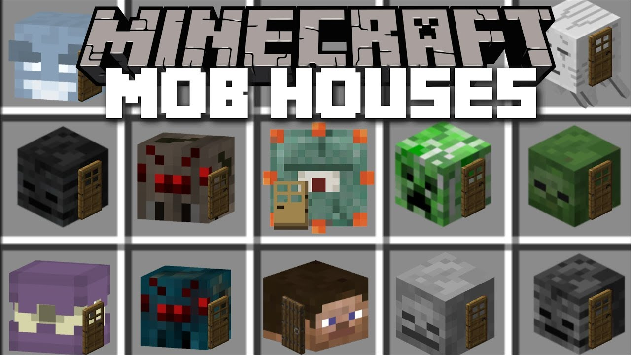 Minecraft MOB HOUSE MOD / BUILD AND LIVE INSIDE MOBS HOUSES!! Minecraft