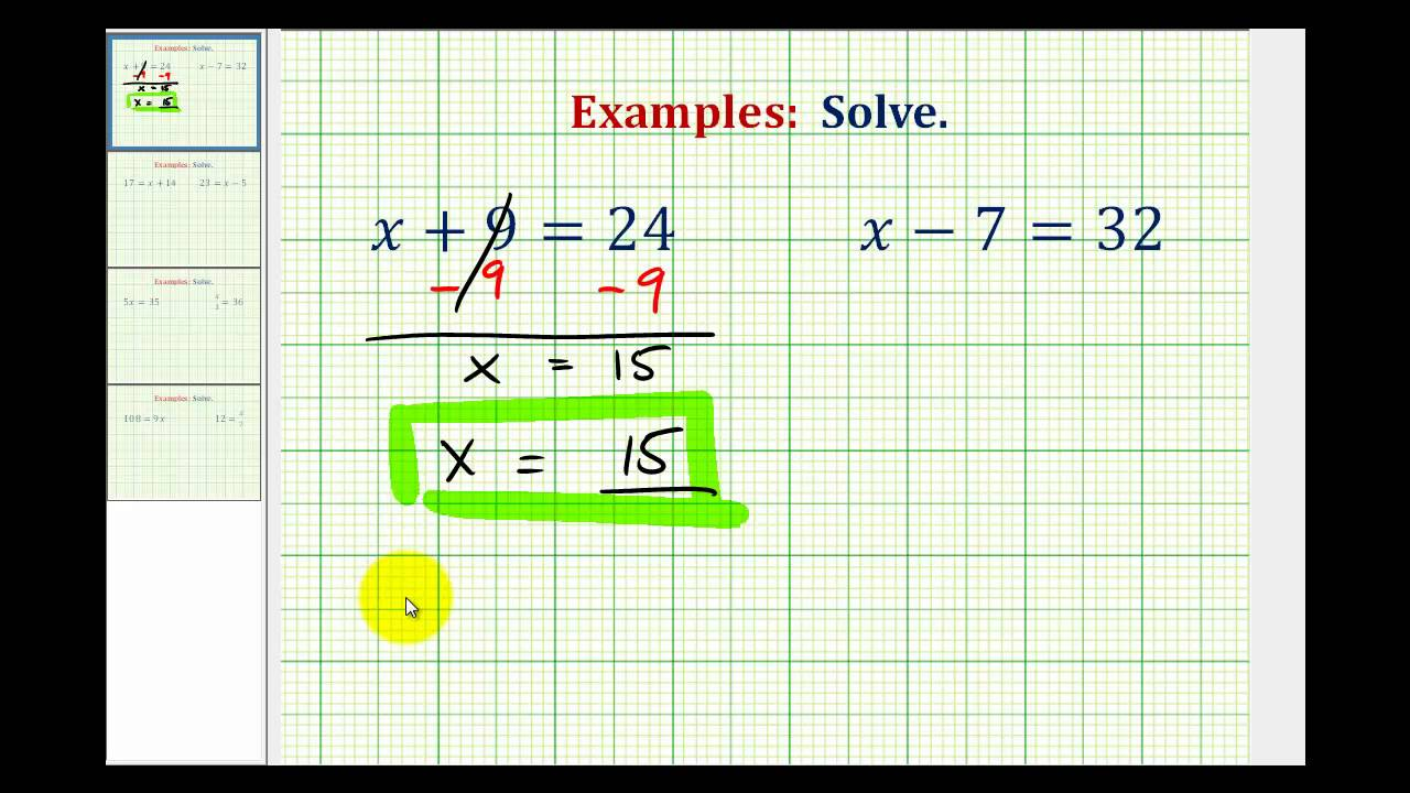 ex  solve one step equations by add and subtract whole