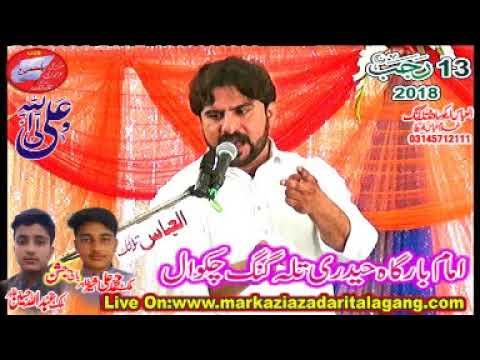 Zakir Shafqat Raza  Jashan 13 Rajab 2018 Talagang