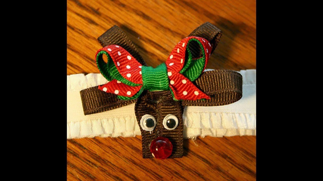 Reindeer hair bow/clip tutorial *Christmas design idea - YouTube
