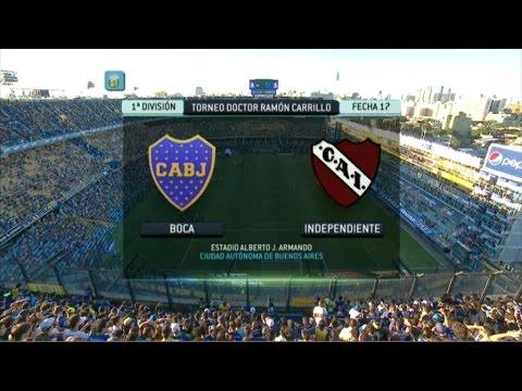 Fútbol en vivo. Boca - Independiente. Fecha 17. Torneo Primera División 2014. FPT.