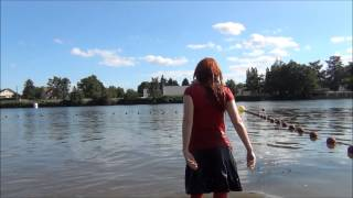 Wetlook Walking and Swiming Fully Clothed in River at Summertime