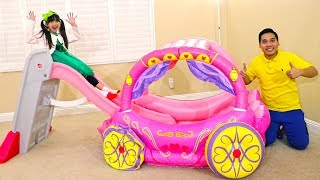 Emma Learn Colors Pretend Play with Pink Kids Slide and Princess Carriage Inflatable Toy