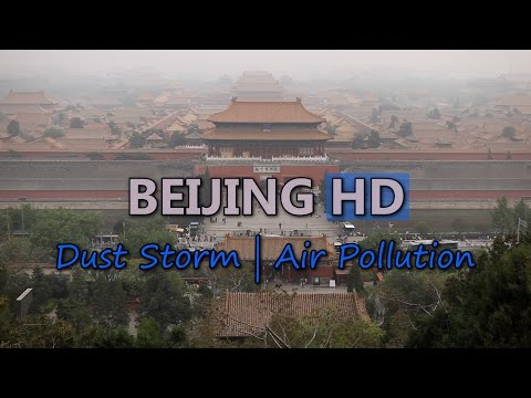 Beijing Travel China Dust Storm Air Pollution Car Traffic City Sightseeing HD Video Stock Footage