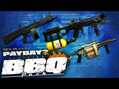 PAYDAY 2 BBQ Pack DLC Flamethrower AA12 Grenade Launcher - NEW Guns and Weapons