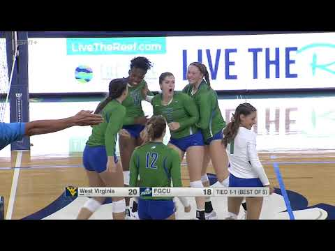 HIGHLIGHTS: @FGCU_VB Loses 5-Setter vs West Virginia Despite Axner's Record 39 Digs