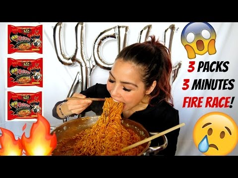 EXTREME SPICY NOODLE CHALLENGE / RACE MUKBANG 먹방 | 13K GIVEAWAY thumbnail