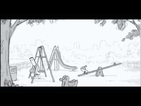 На рисованный мультик.Папа гуляет с детьми.