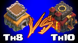 Clash of clans TOWN HALL 8 vs TOWN HALL 10 (Awesome raids)