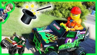 Lego Boy and Monster Truck Magic Tricks for Kids + Lego City 4X4 Off Roader Truck Time Lapse Build