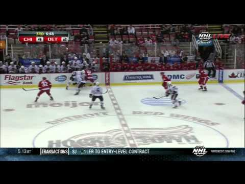 Tomas Tatar goal 4-2 Chicago Blackhawks vs Detroit Red Wings 9/22/13 NHL Hockey