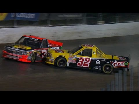 Dillon and Larson Crash @ 2014 NASCAR Truck Series Eldora