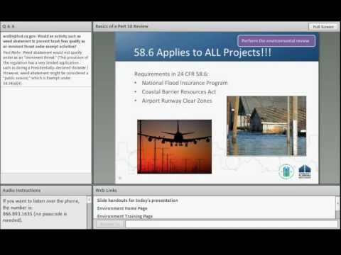 Environmental Review Webinar: Part 58 Environmental Review for HUD-Assisted Projects - 10/10/12