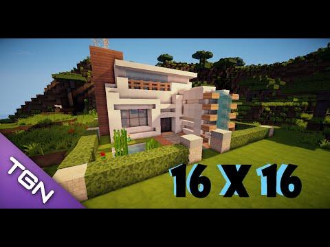 Tutorial como hacer una casa moderna en minecraft 16x16 for Como hacer una casa moderna