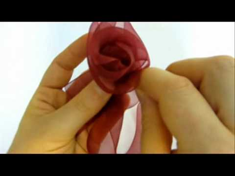 Ribbon Flowers - How To Make Beautiful Organza Ribbon Flowers