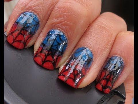 Tutorial decoracion de uñas hombre araña - YouTube
