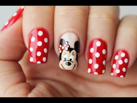 Mickey and minnie mouse nail tutorial - Ver decoracion de unas ...