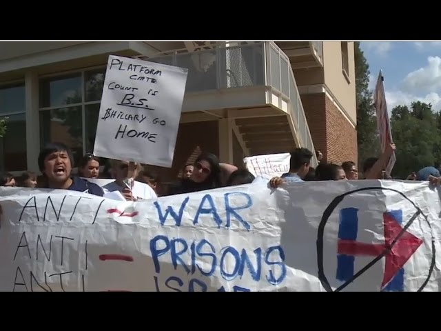 Protesters picket Clinton rally in California