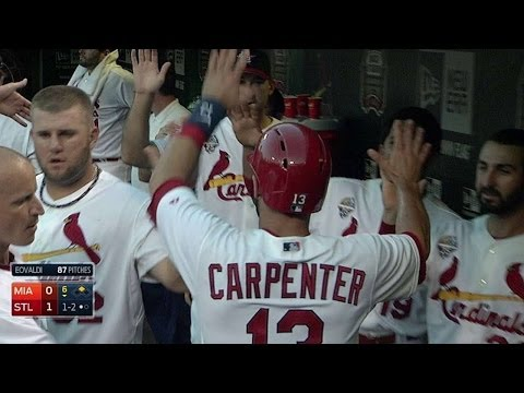 MIA@STL: Carpenter scores first run on a wild pitch