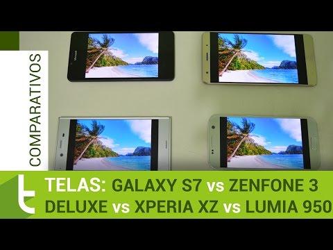 Zenfone 3 Deluxe, Galaxy S7, Xperia XZ e Lumia 950   Comparativo de telas do TudoCelular