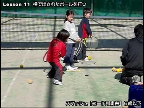 テニス 6歳以下のレッスン 横で出されたボールを打つ