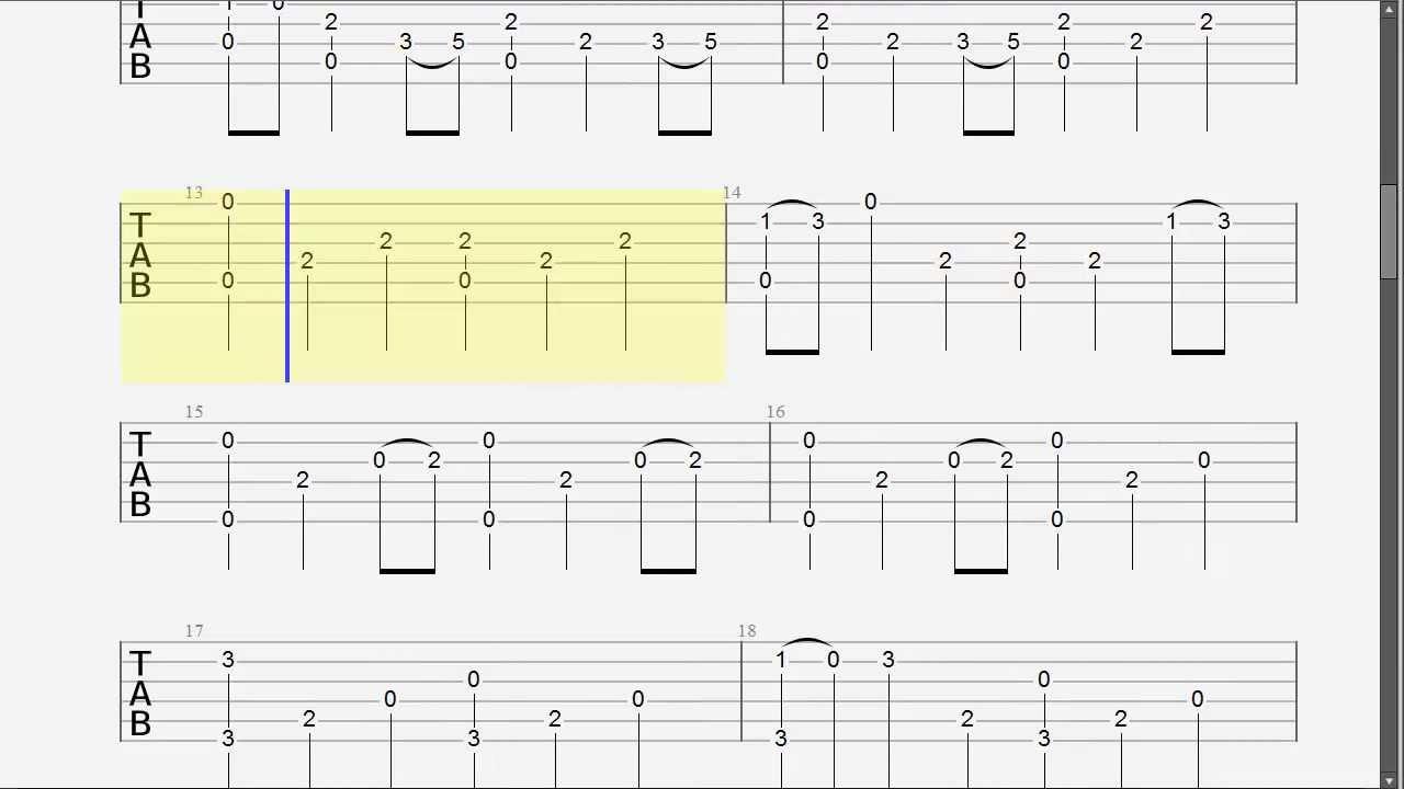 Guitar tabs fingerstyle