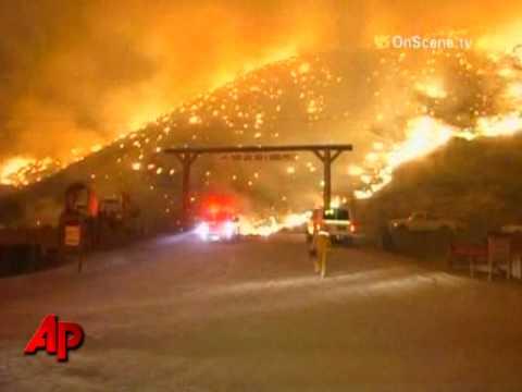 Raw Video: Exploding Wildfires Threaten LA