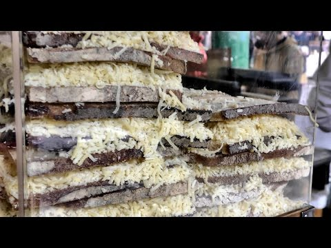 London Street Food. Huge Cheese Sandwiches at Camden Town and Borough Market