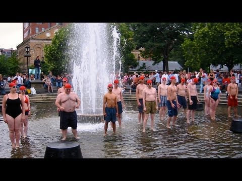 Synchronized Swimming (in a public fountain)